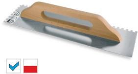 Trintuvė tinkavimui nerūdijančio plieno 130*580 mm 6*6 mm medine rankena 5706 Le
