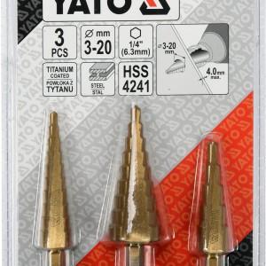 Grąžtai skylės platinimui pakopiniai 3-20 mm 3 vnt. YT-44731 YATO