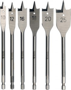 Grąžtai medžiui plunksniniai 6 vnt. 10-12-16-18-20-25 mm YT-3258 YATO