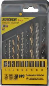 Grąžtų rinkinys 9 vnt. met.tit., beton., medž. 5-6-8 mm 0141209 Crownman (10)