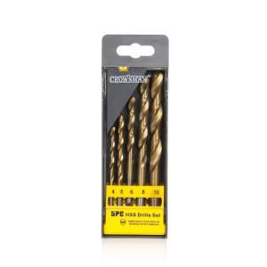Grąžtai metalui HSS titaniniai 5 vnt. 4-10 mm 0130015 Crownman (10)