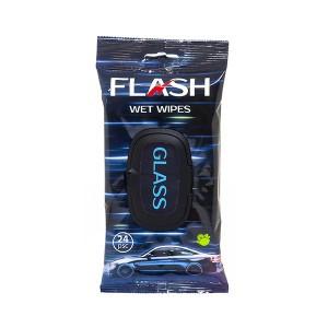 Servetėlės drėgnos automobilio stiklų valymui 24 vnt. GLASS FLASH