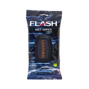 Servetėlės drėgnos automobilio odinio salono valymui 24 vnt. LEATHER FLASH