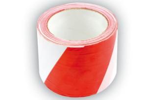 Juosta įspėjamoji raudona-balta 80 mm*100 m Lenkija 75233