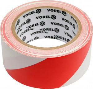 Juosta įspėjamoji raudona-balta 48 mm*33 m stipraus lipnumo PVC 75230 Vorel