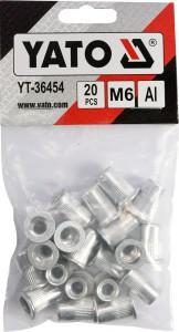 Kniedės aliumininės srieginės M6 20 vnt. YT-36454 YATO
