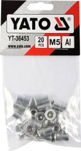 Kniedės aliumininės srieginės M5 20 vnt. YT-36453 YATO