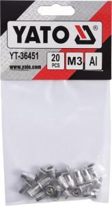 Kniedės aliumininės srieginės M3 20 vnt. YT-36451 YATO