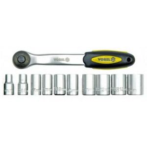 "11 PCS RATCHET HANDLE 1/4"" WITH SOCKETS"